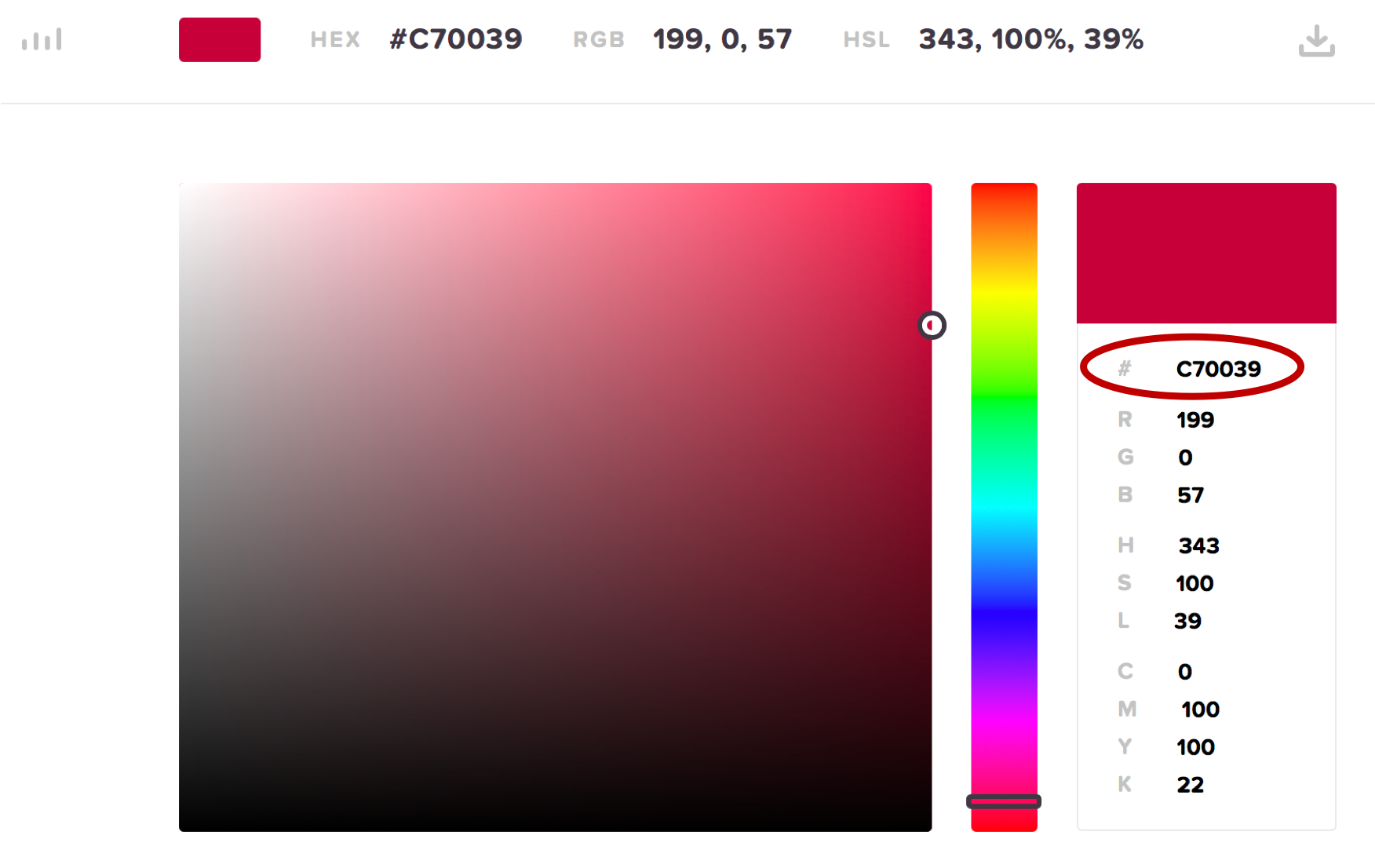 Hex colour picker screenshot