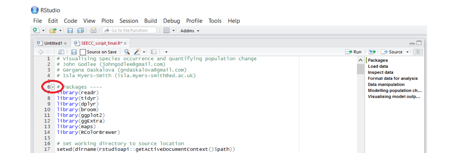 RStudio outline sections screenshot