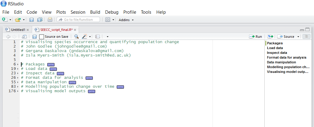 RStudio outline sections collapsed screenshot